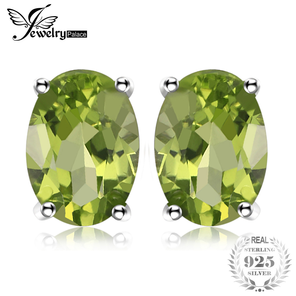 JewelryPalace Oval 1.8ct Natural Green Peridot Birthstone Stud Earrings Genuine 925 Sterling Silver Fine Jewelry For Women