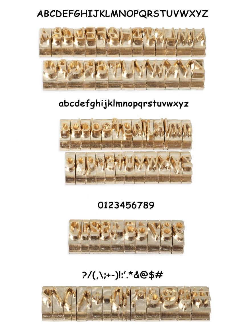 ZONESUN T accesorio de la ranura 52 letras del alfabeto 10 números 20  símbolo de cuero herramienta de fabricación de moldes de máquina de hierro  de