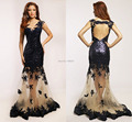 Top Fashion Sparkly Sequines Black Lace Evening Dresses A Line Backless Sheer See Through Long Evening Prom Party Dress