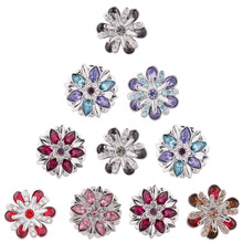 10pcs/lot 2018 18mm Alloy Flower Fashion Snap Button Charm Rhinestone ginger Crystal Snaps Jewelry fit snap bracelet