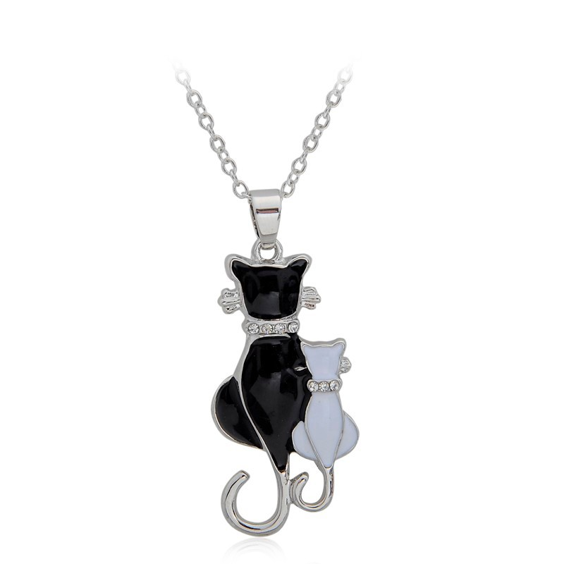 NEW LOVELY CAT PAW BLACK WHITE 2 CAT ON HEART CRYSTAL PENDANT NECKLACE-Cat Jewelry-Free Shipping NEW LOVELY CAT PAW BLACK WHITE 2 CAT ON HEART CRYSTAL PENDANT NECKLACE-Cat Jewelry-Free Shipping HTB1MxliLFXXXXcTaXXXq6xXFXXXE