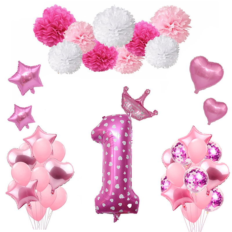 1st Pink Gold Balloons Birthday Party Decorations Kids Girl First Banner One Year Old Baby Shower Supplies