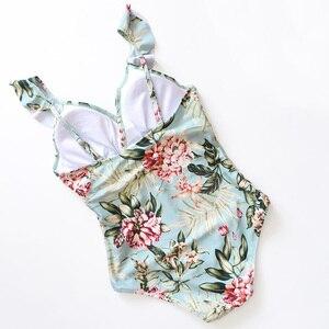 Image 3 - Sexy 2020 Lady rétro Floral plissé col en V à volants maillots de bain femmes une pièce maillot de bain Smock taille haute bain costume Monokini Trikini