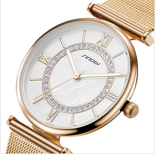 SINOBI Gold Uhr Frauen Top Marke Luxus frauen Uhren Strass Damen Uhr Frauen Uhren Uhr reloj mujer zegarek damski