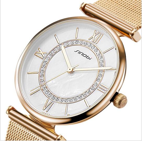 SINOBI Gold Watch Women Top Brand Luxury Women's Watches Rhinestone Ladies Watch
