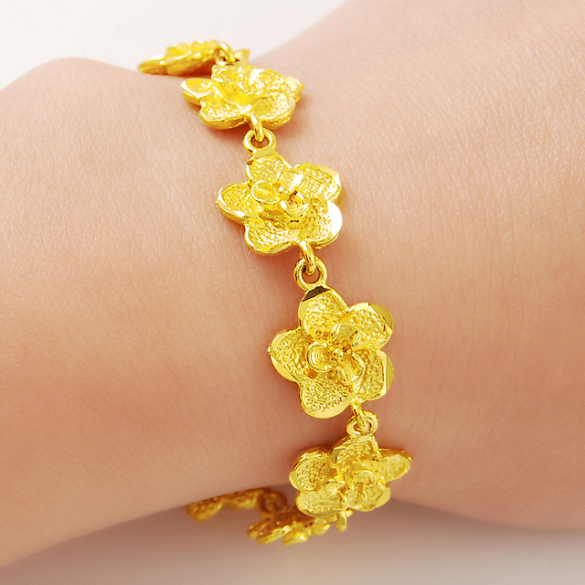 Beautiful and Elegant Flowers Chain 24K Gold Bracelet For Women Ladies  Wedding Anniversary Best Selling Jewelry ece6910606bb