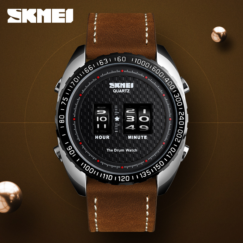 <font><b>SKMEI</b></font> <font><b>1516</b></font> Business Watch Men Fashion Creative Teenager Quartz Watches Leather Strap Waterproof Wristwatches Relogio Masculino image