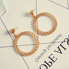 Temperament circle earrings Hollow out twist round metal earrings Personality weaving restoring ancient ways Women present leaf hollow out circle earrings
