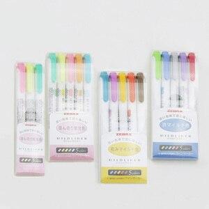 Image 4 - 3 stücke oder 5 stücke/set zebra mildliner farbe Japanischen briefpapier doppel headed fluoreszierende stift haken stift farbe Mark stift kawaii