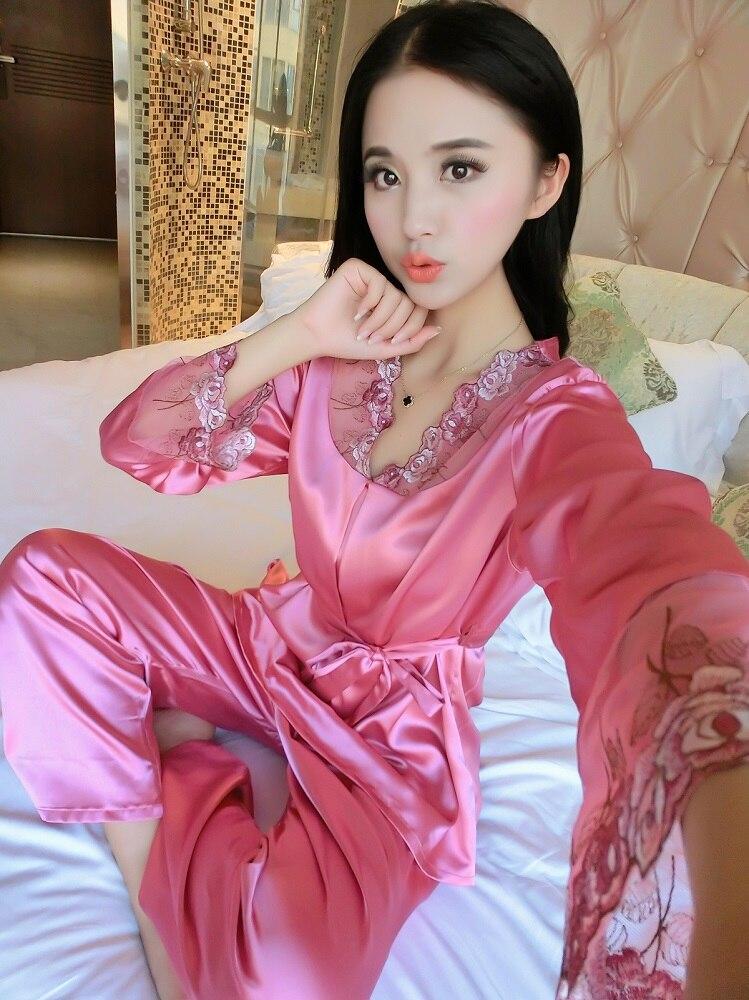 1ca7c7339d Sexy Silk Pajama Sets Spring Autumn Female Lace Embroidered Satin Pajamas  Sleepwear Lounge Leisure Home wear