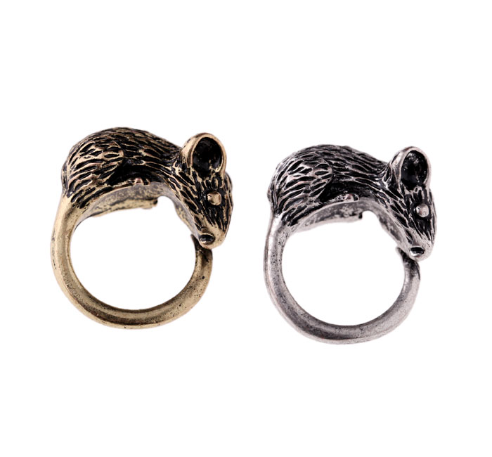 Fashion Antique Metal Mouse Ring