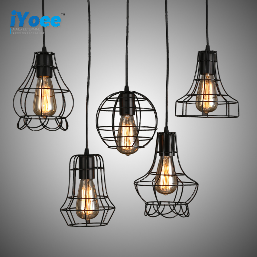 Loft Vintage Industrial Retro Pendant Lamp Edison Light E27 Holder Iron Restaurant Bar Counter Attic Bookstore Cage Lamp vintage loft industrial edison flower glass ceiling lamp droplight pendant hotel hallway store club cafe beside coffee shop