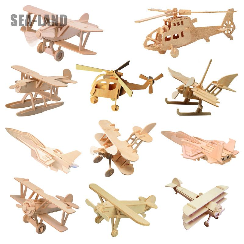 Wholesale 3D Diy Wooden Kids Puzzles Game Toy Aircrafts Educational Puzzle Montessori Toy Challenge IQ A Hobby Gift Dropshipping