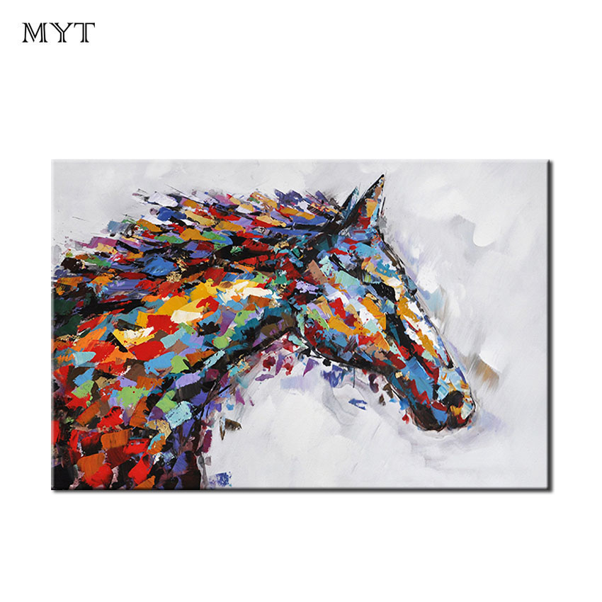 Wall art handmade modren abstract colorful horse head oil painting on canvas pictures for living room bed room home decoration