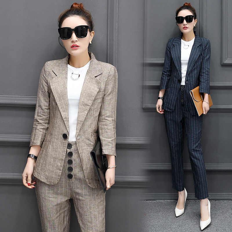 Otoño nuevo traje de moda coreano vestido de dama ocupación temperamento  delgada trajes a rayas dos 5f7fc70ef6e4
