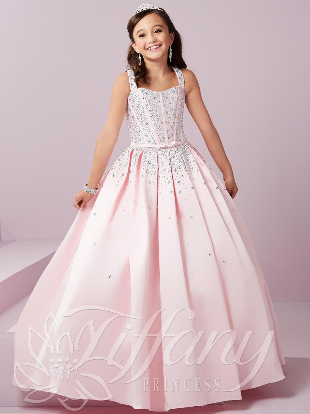 Lovely Pink Satin Straps Beads Flower Girl Dresses Princess Dresses