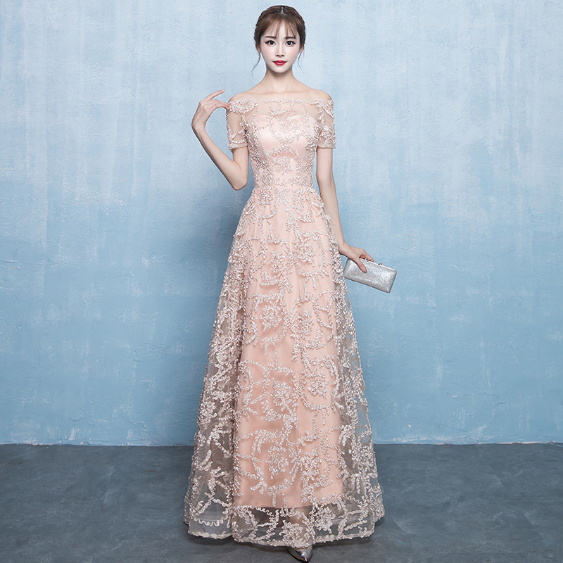 Champagne Off Shoulder Women Cheongsam Sexy Lace Hollow Out Qipao Floor Length Mesh Dresses Chinese Ladies