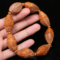 Wholesale Fine Carved Olives Nuclear Bracelets Seed Guan Yu Pendant Bracelets for Men Women Bracelets Wood Hand string Jewelry