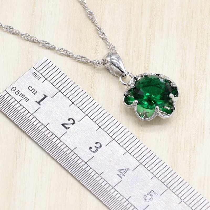 Cor de prata jóias traje casamento conjuntos de jóias brincos de zircônia verde para as mulheres anéis pingente colar conjunto caixa de presente