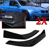 New 2Pcs Universal Black Car Front Deflector Spoiler Splitter Diffuser Bumper Canard Lip ABS Plastic Decorative Protection