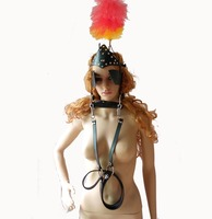 Leather Pony Girl Harness Head Piece and Vulcanized Rubber Bit Gag with Reins Fetish Pet Play Kinky Role Play Costumes