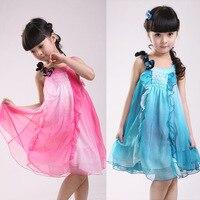 בנות שמלת שיפון שמלת נסיכת פרפר נשי הקיץ של ילדי פרחי בגדי ילדים רשת כחולה אדומה