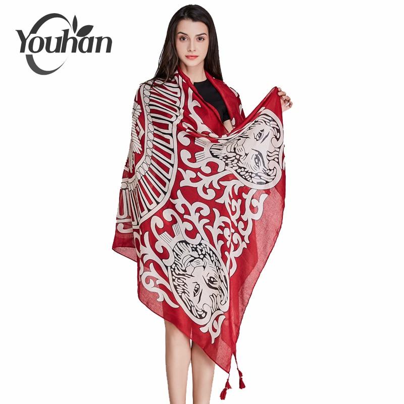 YOUHAN 2018 Women   Scarf   Luxury Brand Viscose Lion Head Twill Tassel Shawl Lady Scraf Long   Scarves     Wrap   Echarpe Bandana Pashmina