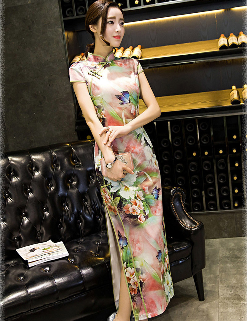 fa482c9dd 2017 Women Summer Chinese Style Floral Print Qipao Long Silk Banquet Party  Dress CHEONGSAM-in Cheongsams from Novelty & Special Use on Aliexpress.com  ...