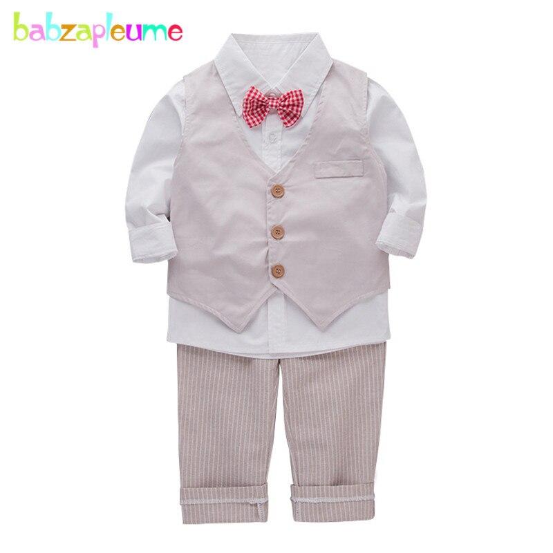 Детская одежда мода 2018 Демисезонный Джентльмен детская белая рубашка + жилет + брюки Одежда для маленьких мальчиков для детей Костюмы компл...