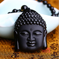 Wholesale  Natural Obsidian Scrub Pendant Black Buddha  Head Pendants Transhipped Buddha Head
