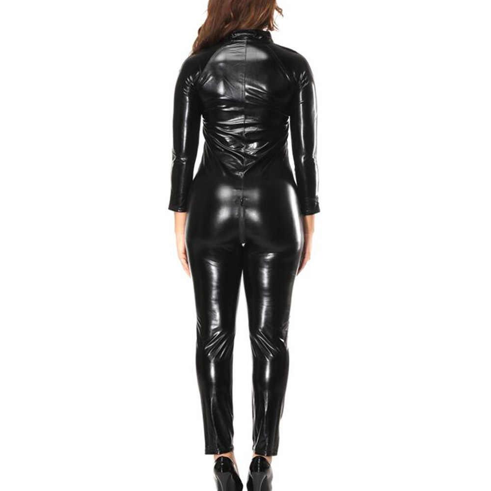 Monos negros para mujeres adultas para Club nocturno traje Sexy de manga larga Mujer monos de fiesta con cremallera frontal