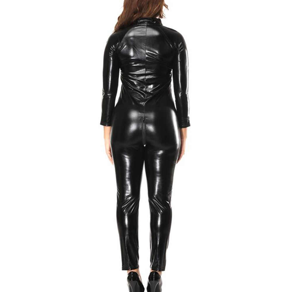 Rot Sexy Nachtclub Overalls für Frauen Latex Wetlook Catsuit Kostüm Front Zipper Party Tanz Body Plus Größe Overalls