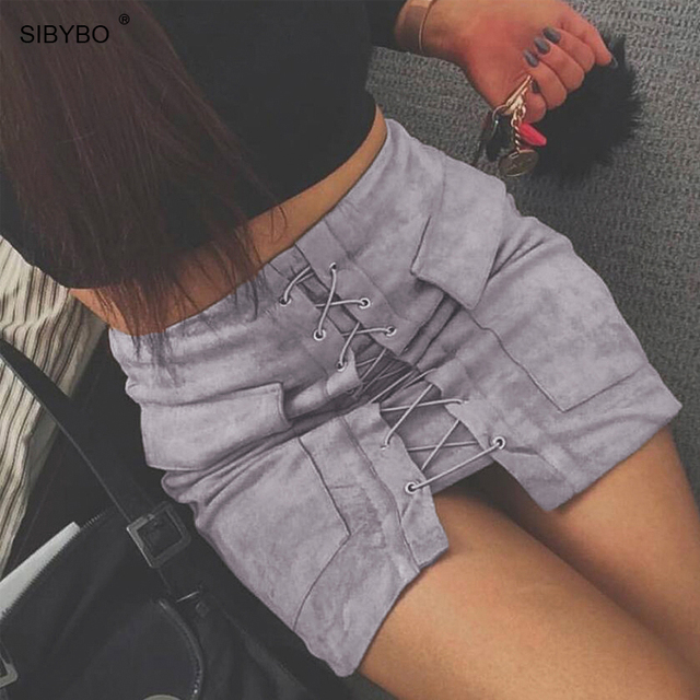 Sibybo 2018 Autumn Suede Women Skirt Lace Up Vintage High Waist Pocket Ladies  Skirts Winter Bodycon f0b8e9751af7