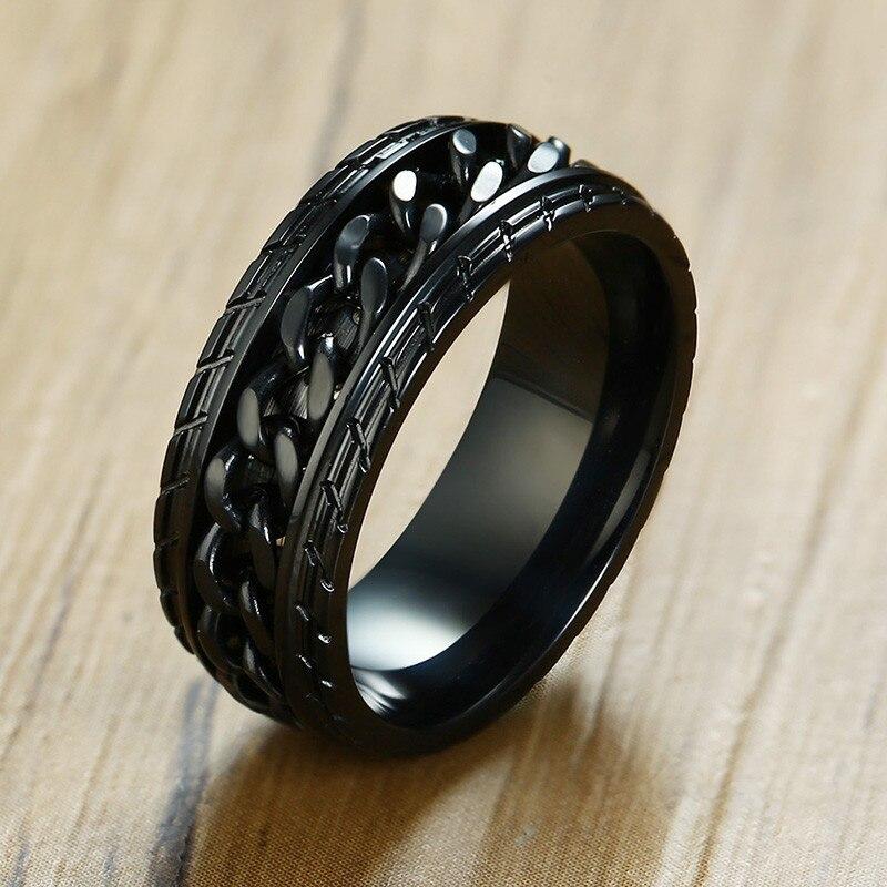 ZORCVENS Spinner Reifen Textur Ring mit Spinner Kette 8mm Edelstahl Band für Männer Auto Auto Liebhaber Zubehör Geschenk für Ihn