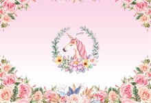 Laeacco Cartoon Unicorn Flowers Baby Shower Birthday Party Photography Backgrounds Photographic Vinyl Backdrop For Photo Studio