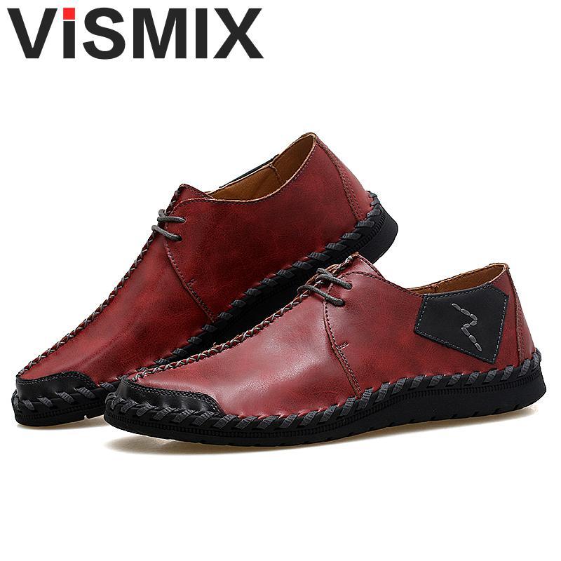 b4bdc62cc256 Aliexpress.com   Buy VISMIX Brand New Shoes Men Big Size 38 47 Mens Shoes  Casual High Quality Split Leather Shoes Lace Up Flats Man Plus Size 46 47  from ...