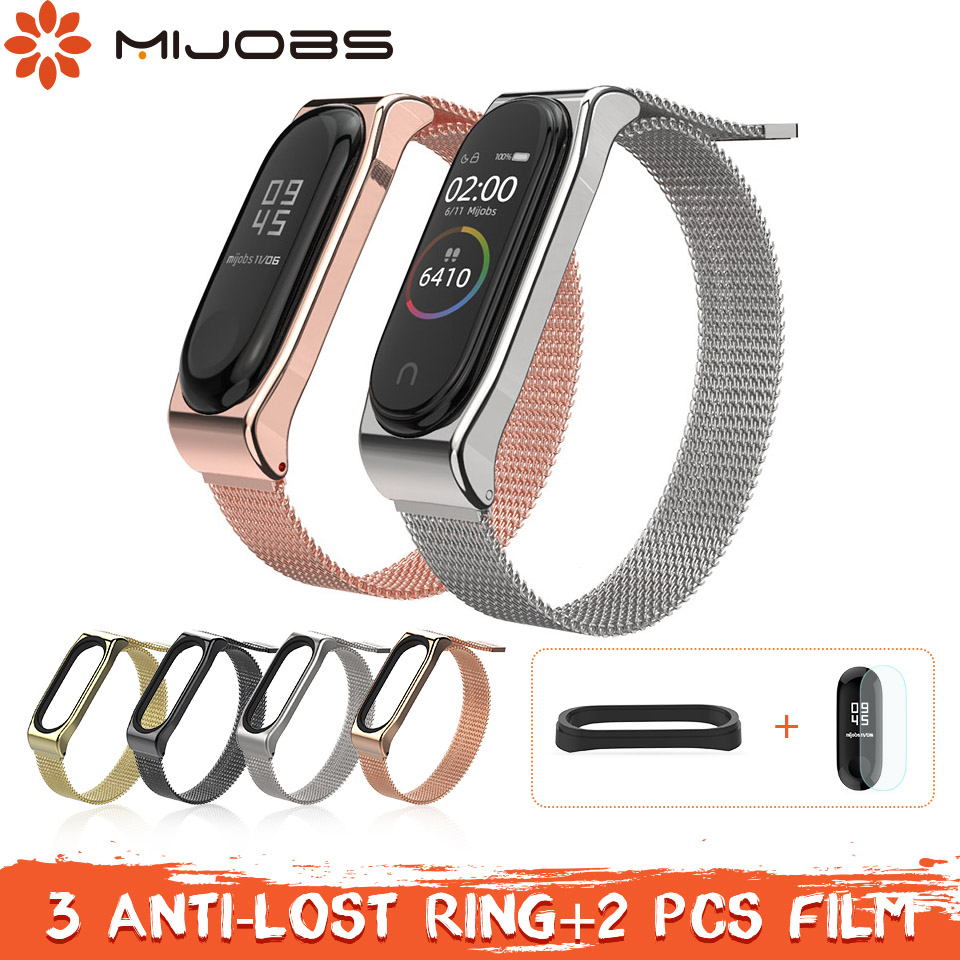 Mijobs Magnetic Mi Band 3 Strap Metal Bracelet for Xiaomi mi band 3 Correa Smart Bracelet Stainless Steel Miband 4 Strap Metal strap