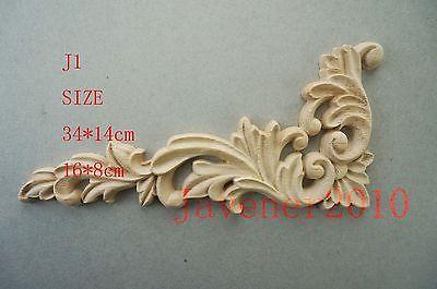 J1 -16x8cm Wood Carved Corner Onlay Applique Unpainted Frame Door Decal Working Carpenter Decoration