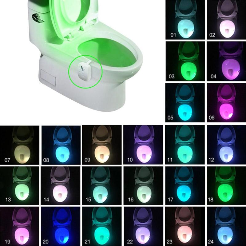 4.5V 0.3W Smart Bathroom Toilet Seat LED Body Motion Light Sensor Night Lamp 24 Colors Cyclic Discoloration Home Decor Light