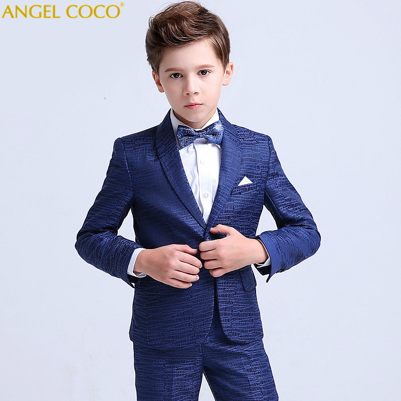 где купить Menino Boys Suits For Weddings New Arrival Print Navy Blue Boys Wedding Suit Formal Suit For Boy Kids Wedding Suits Blazer Boy дешево