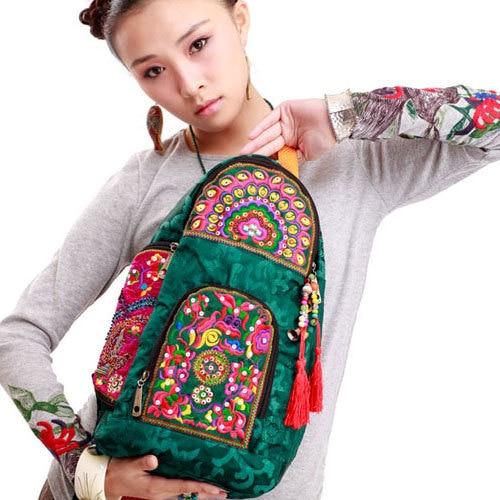 все цены на NEWEST Ethnic handmade embroidered Chest bags Messenger bags Vintage Satin women travel backpack