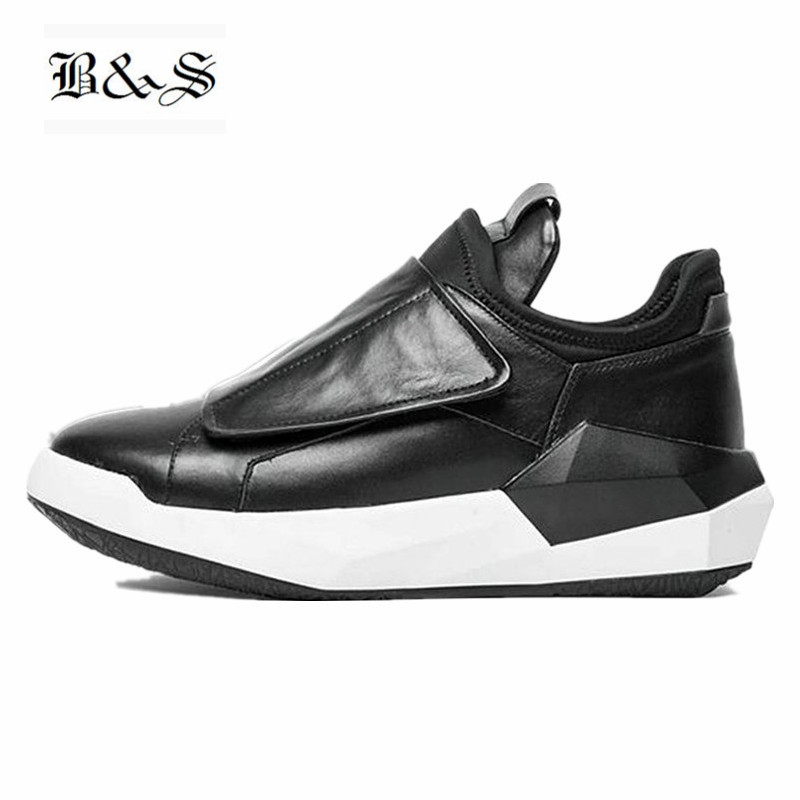 Здесь продается  Black& Street Men genuine leather Ankle Boots Luxury Trainers  Thick Sole Street Boots Casual Brand England Hook& Loop Shoes  Обувь