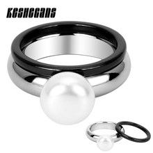 2pcs/Set Classic 2mm Black Ceramic Ring & Big Simulated Pearl Stainless Steel Ring For Women Noble Elegant Jewelry Party Gifts(China)