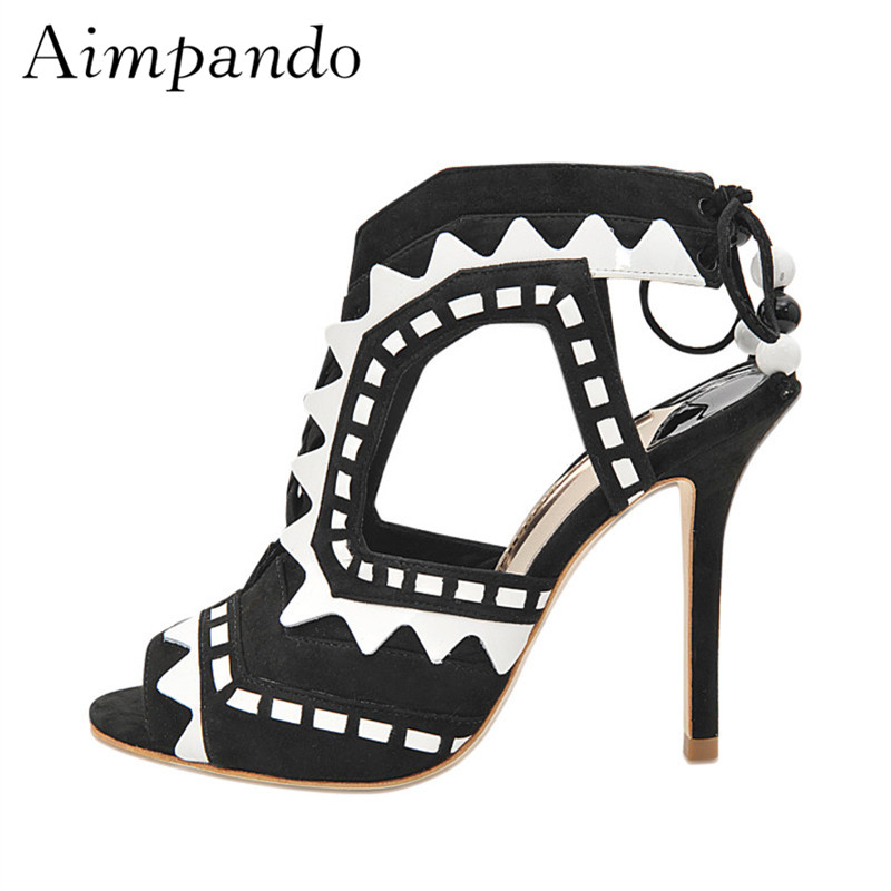 Colorful Suede Patchwork Gladiator Sandals Women Stiletto Heel Peep Toe String Bead Back Wrap Runway Shoes WomanColorful Suede Patchwork Gladiator Sandals Women Stiletto Heel Peep Toe String Bead Back Wrap Runway Shoes Woman