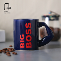 Blue Glaze Ceramic Coffee Mug Office Cup Tea Cup BIG BOSS Cute Christmas Gift Water Bottle