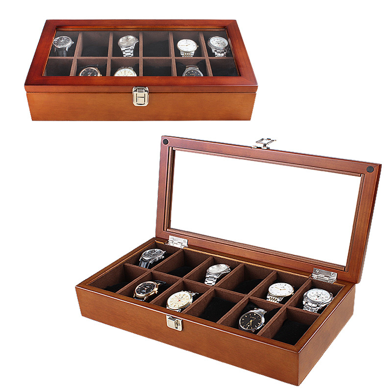 12 Slots Watch Display Boxes Case Wood Material Transparent Skylight Watch Organizer Holder New Women's Jewelry Storage Box|Watch Boxes| |  -