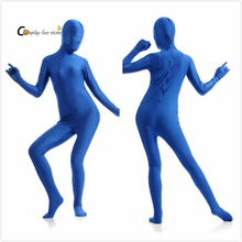 2017 Adult Full Body Spandex Lycra Zentai Suit blue Tight Suits Pure Color Halloween Party Unitard