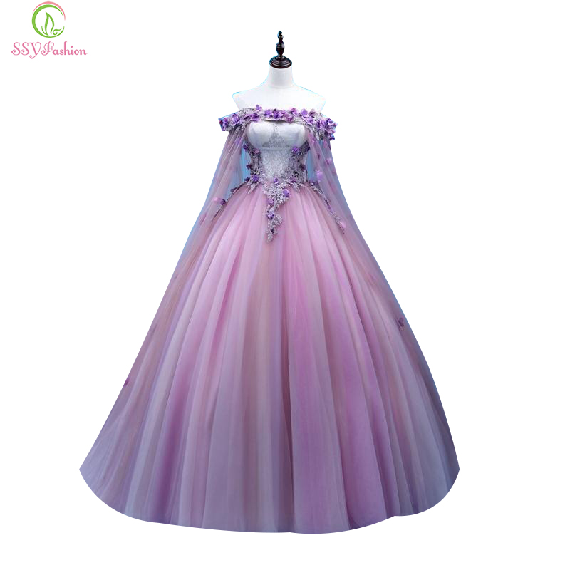 SSYFashion New   Prom     Dress   Sweet Purple Lace Flower Boat Neck Appliques Floor-length Party Ball Gowns Custom Formal   Dresses