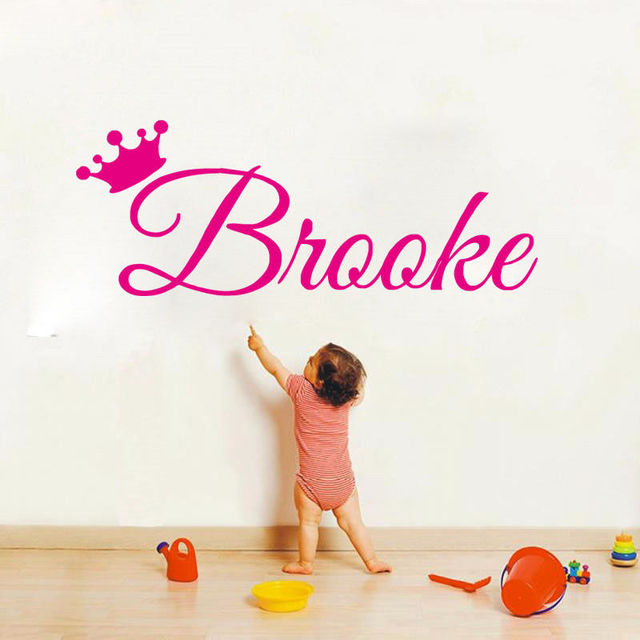 Personalize name wall sticker for kids room baby room wall decals crown with baby name birthday