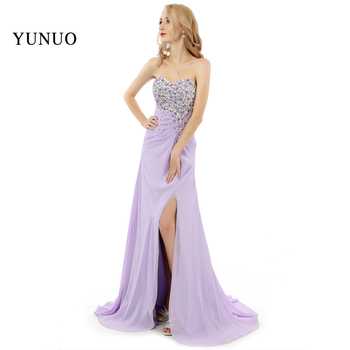 2019 New Arrival Sweetheart Shinning Crystal Top Floor-length Chiffion  A-Line Prom Dresses Purple Plus Size  x07283